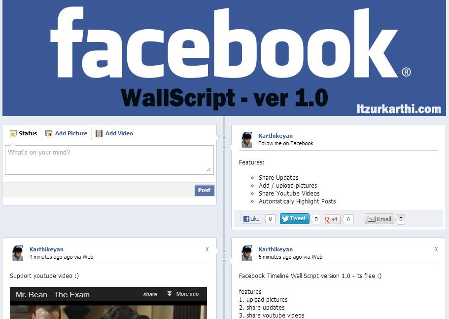 facebook timeline wall script