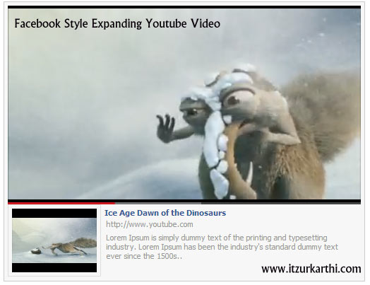 Facebook Style Expanding Youtube Video