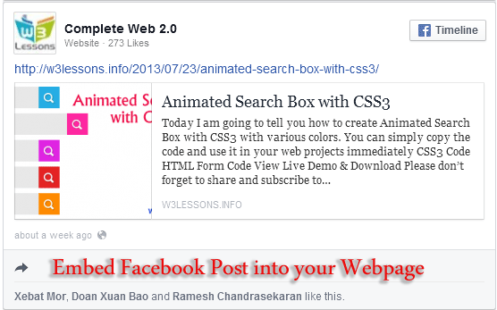 Embed Facebook Post into the content of your web site