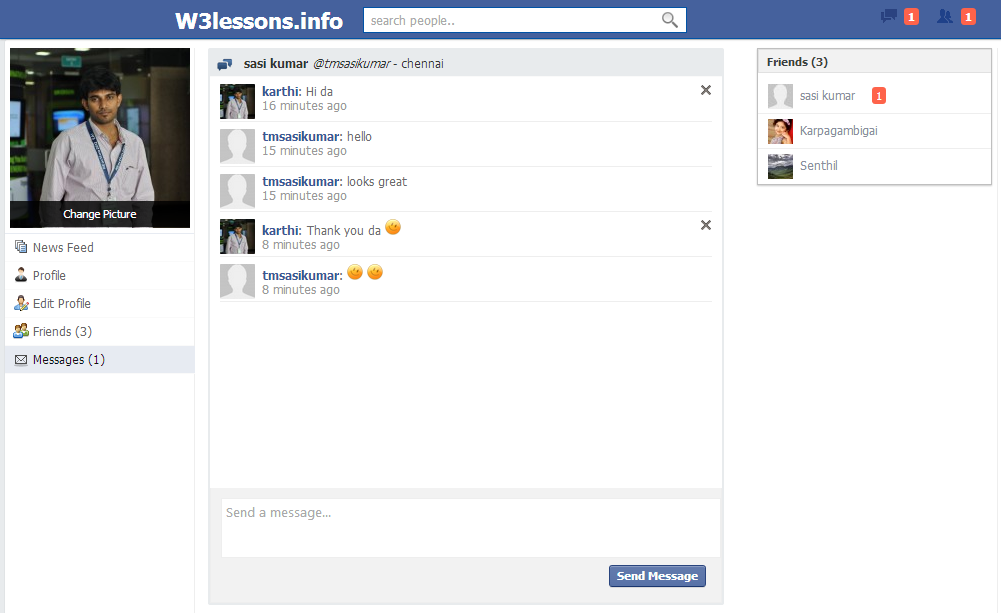 Facebook Style Instant Messaging System