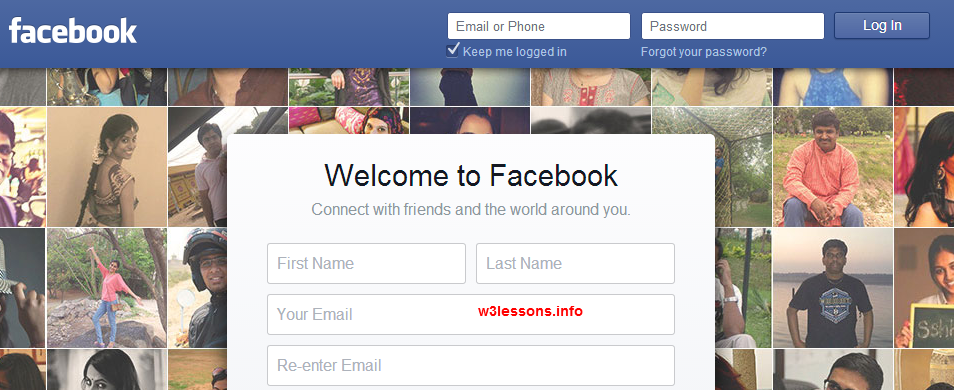 Facebook Home Page Design using CSS3