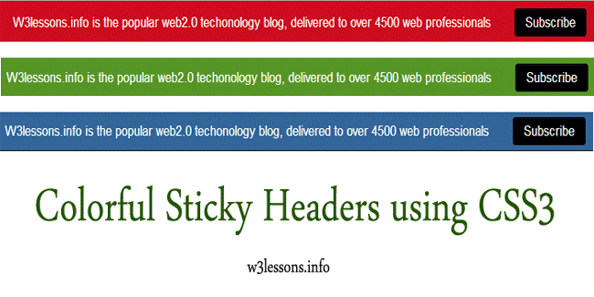 Colorful Sticky Header on Page scroll using CSS3