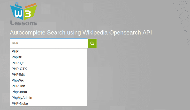 Implementing Autocomplete Search using Wikipedia OpenSearch API