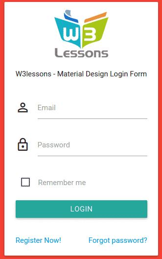 Login form using Material Design